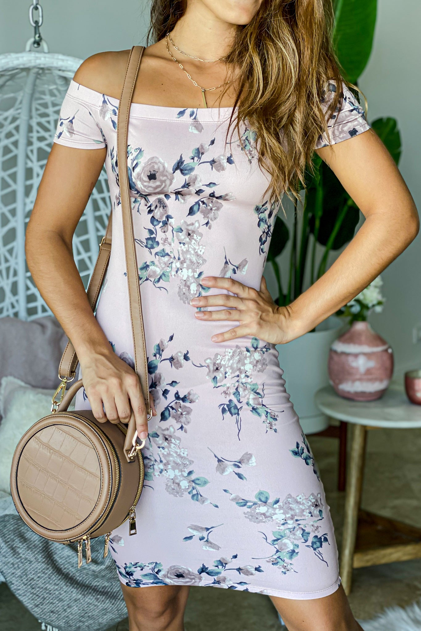 Lifestyle blush floral off shoulder midi dress