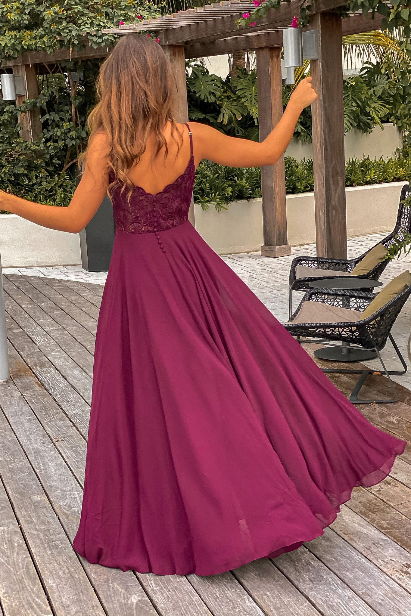 Lifestyle burgundy maxi dress with embroidered back and button detail