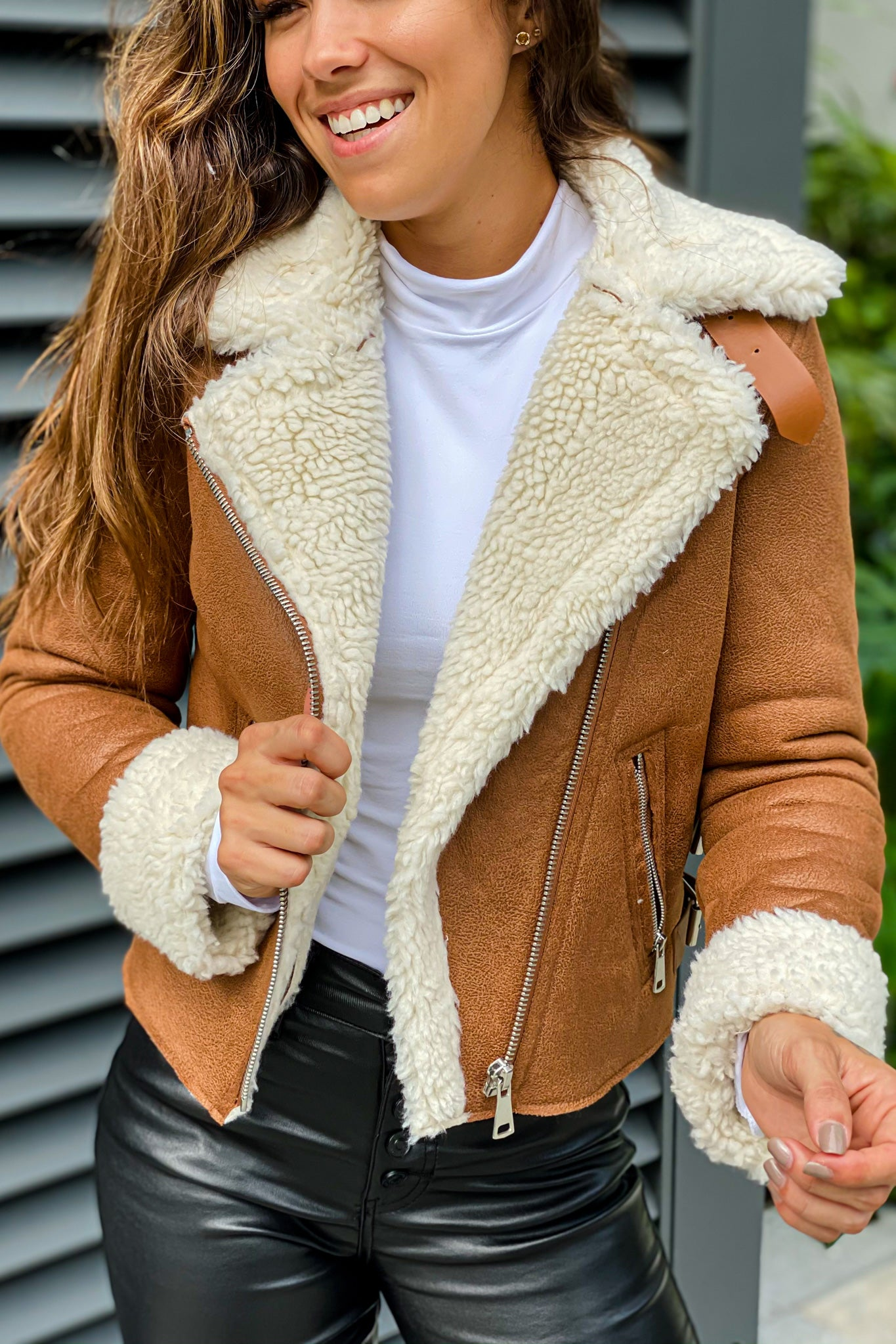 Lifestyle camel suede and sherpa jacket