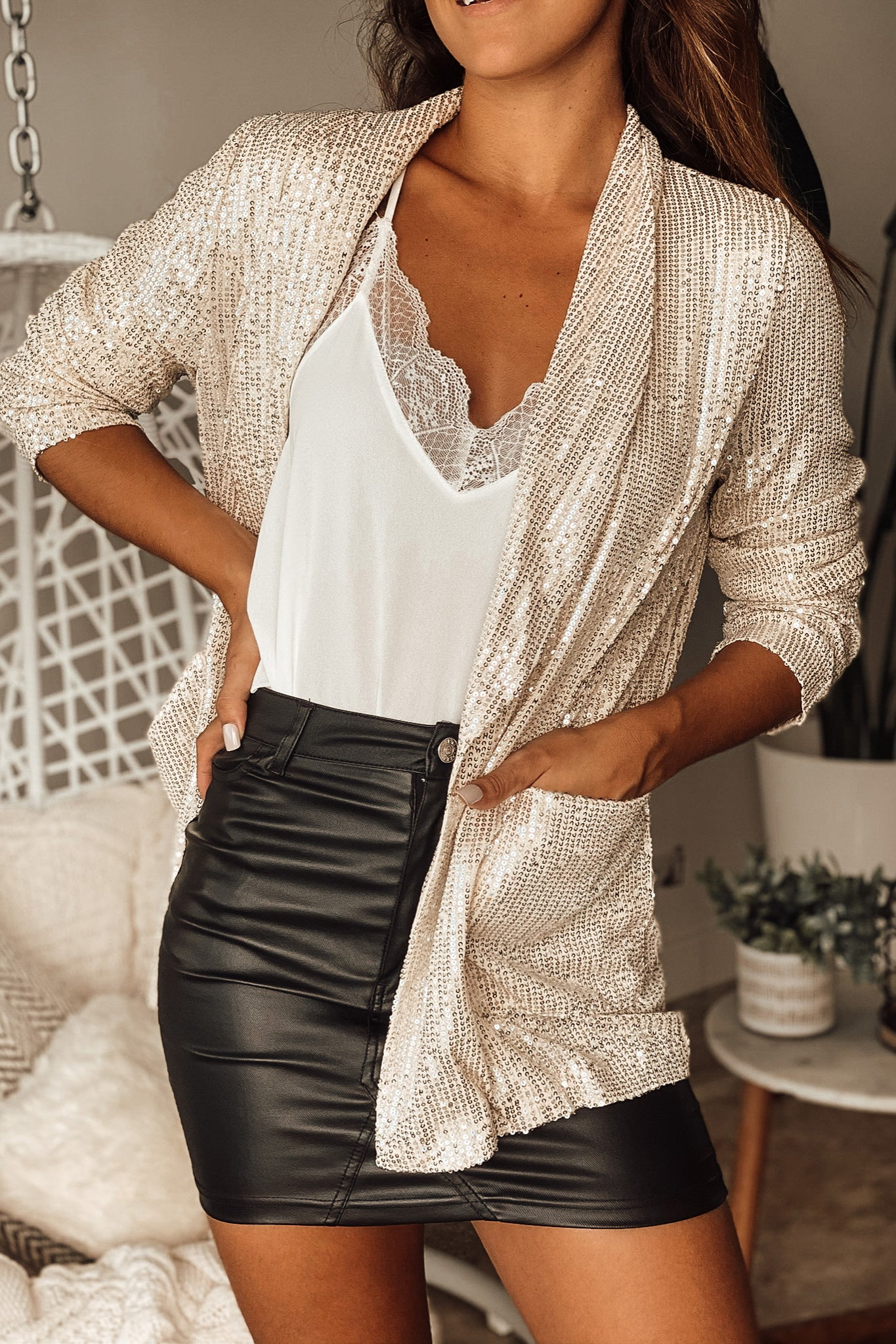 Lifestyle champagne sequin relaxed blazer