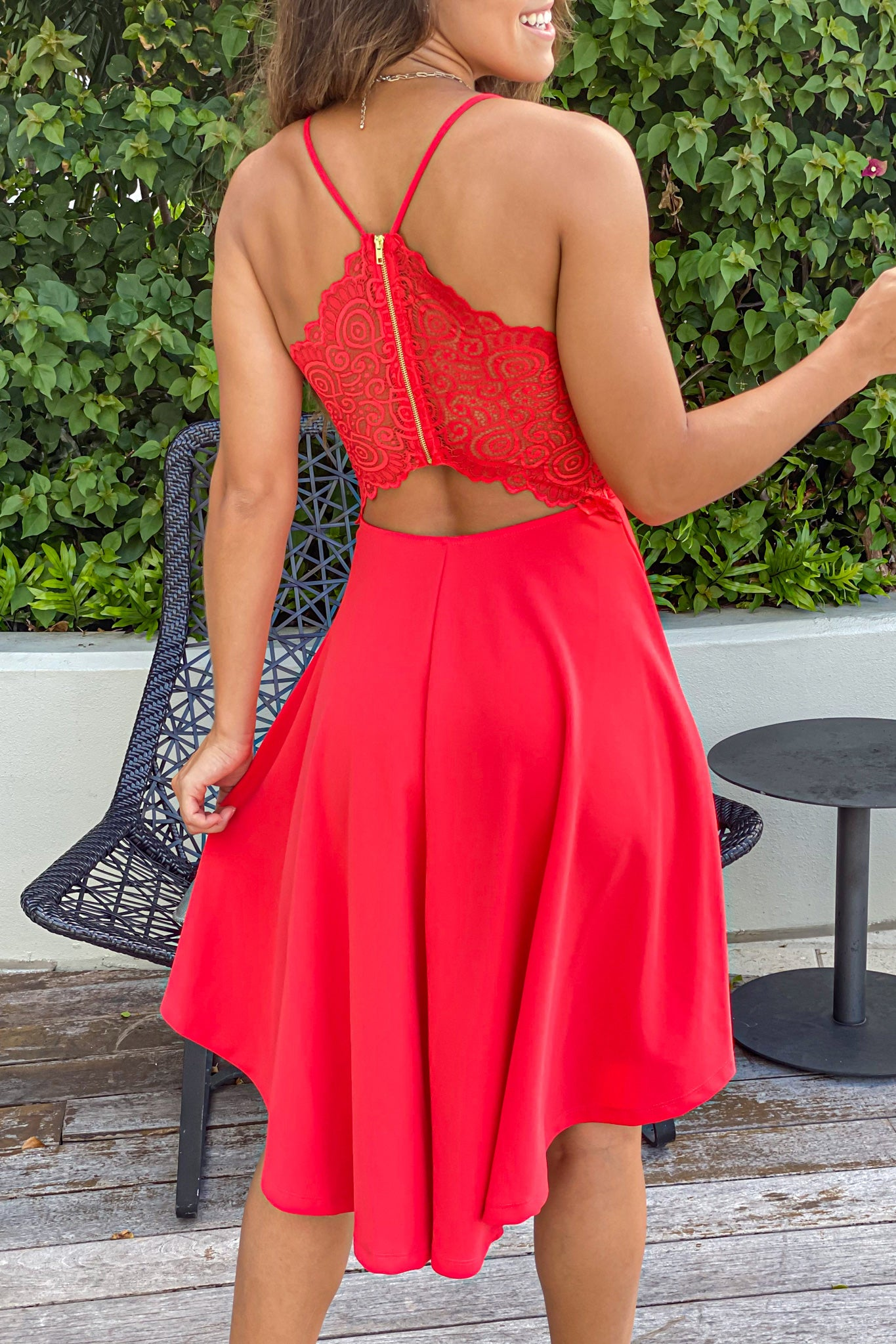 Lifestyle dark coral high low dress with lace back