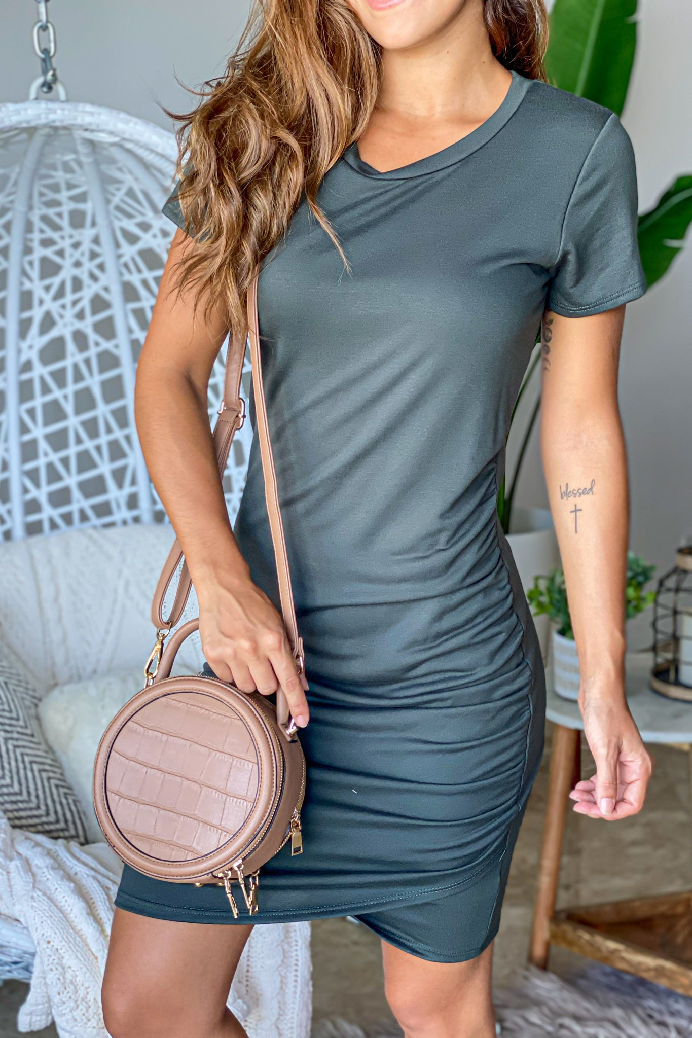 Lifestyle dark olive ruched short dress