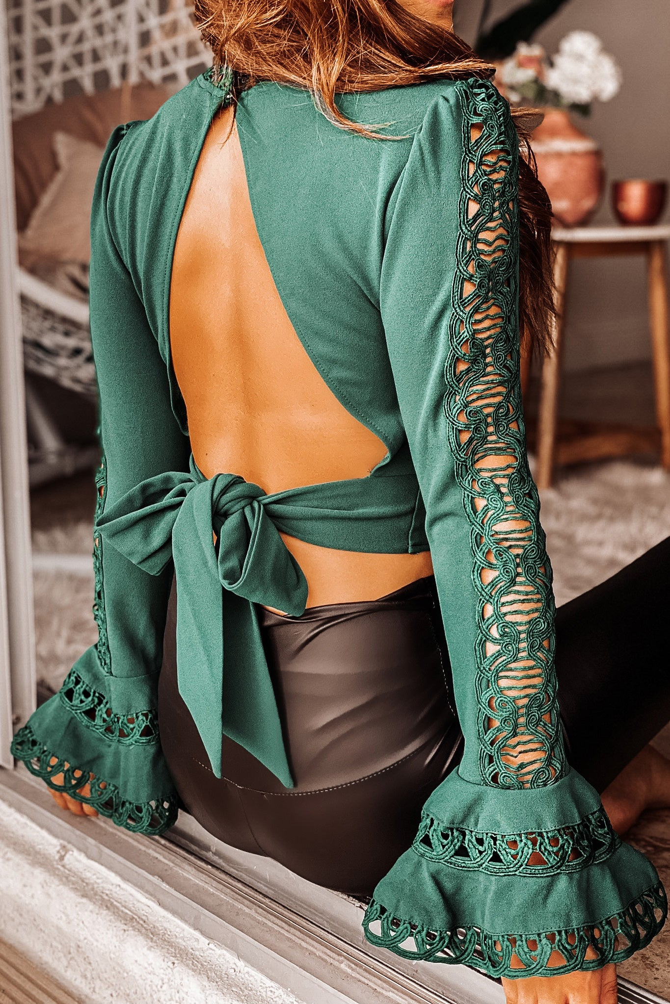 Lifestyle forest green long sleeve crop top