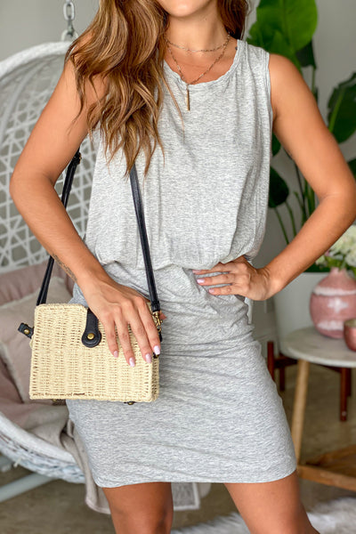 Heather Gray Short Dress With Ruched Bottom