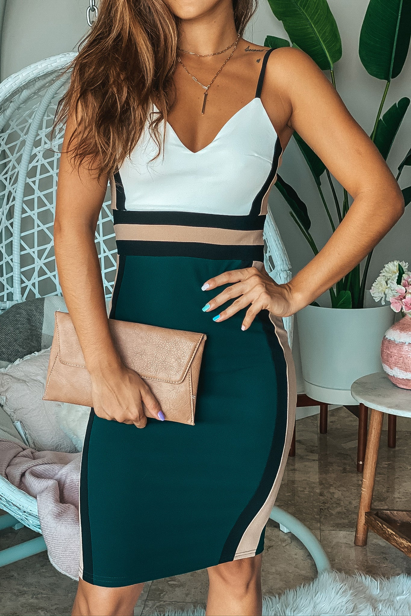 Lifestyle hunter color block midi dress
