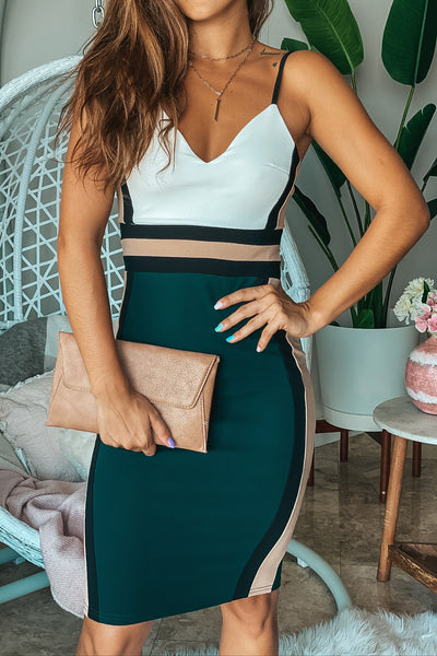 Hunter Green Color Block Midi Dress