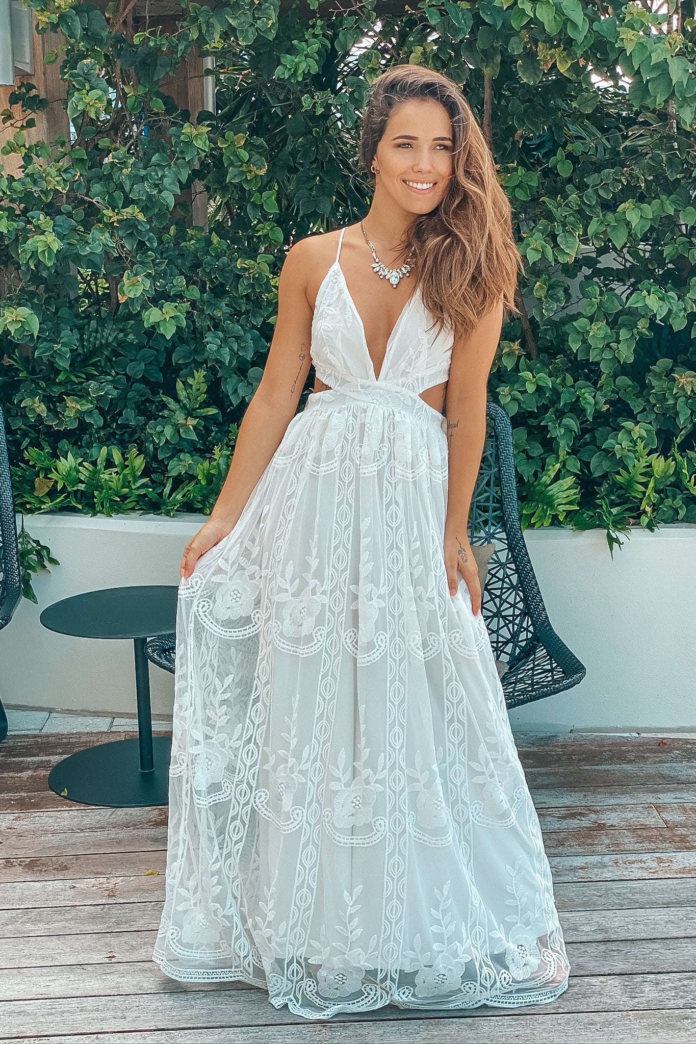 Lifestyle ivory lace maxi dress with cutouts