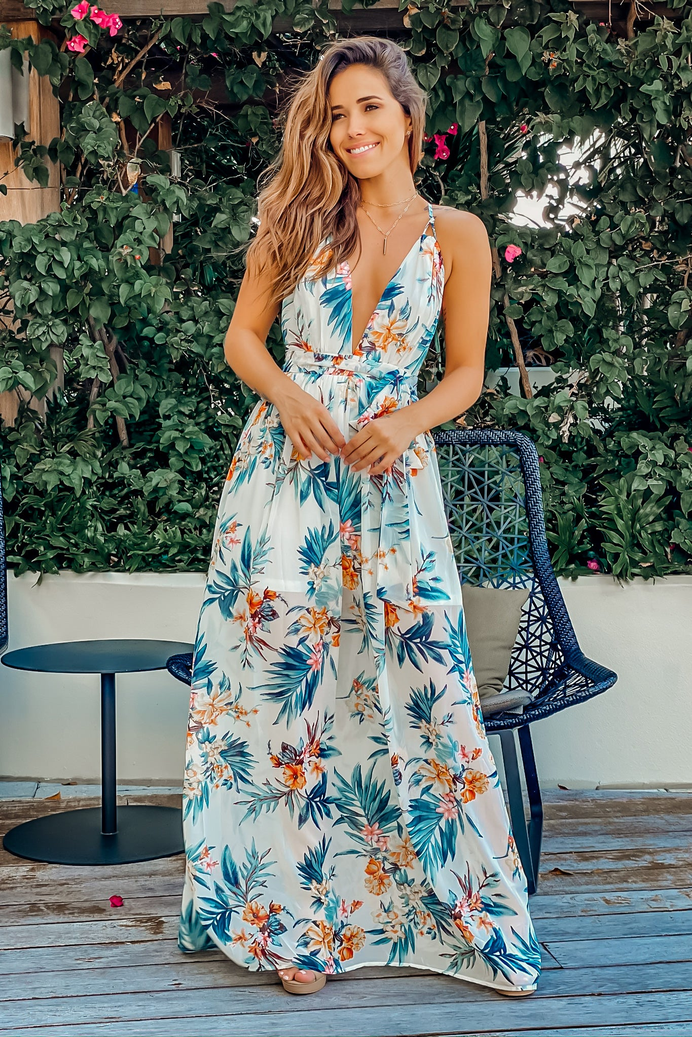 Lifestyle ivory tropical v-neck maxi dress