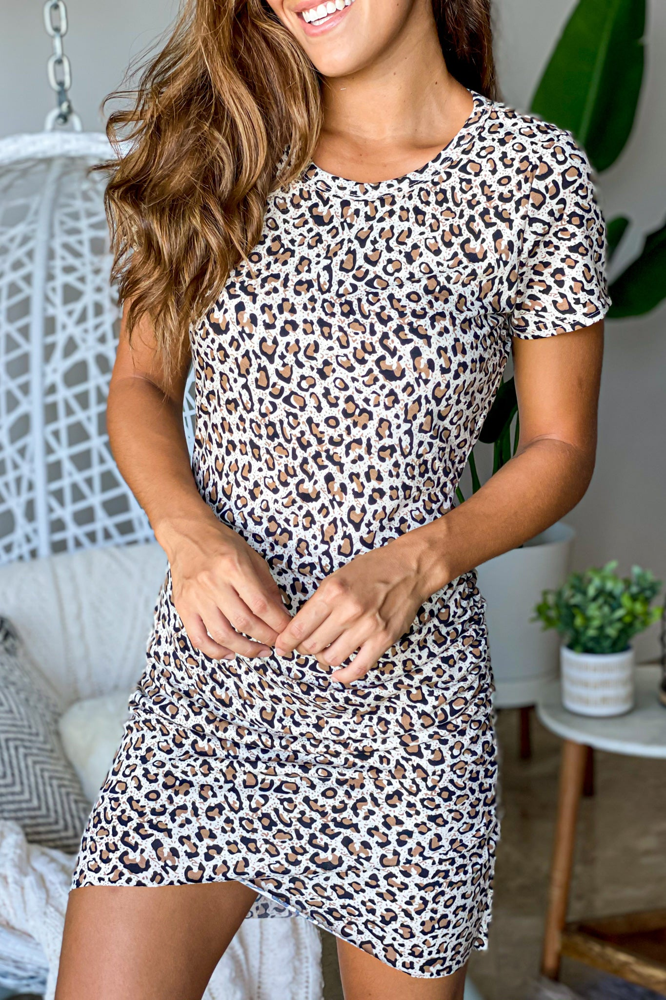 Lifestyle leopard short dress with sleeves