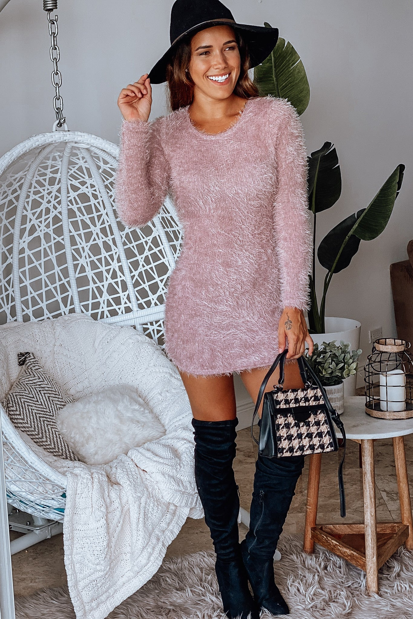 Lifestyle mauve fuzzy long sleeve short dress
