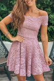 Lifestyle mauve off shoulder lace short dress