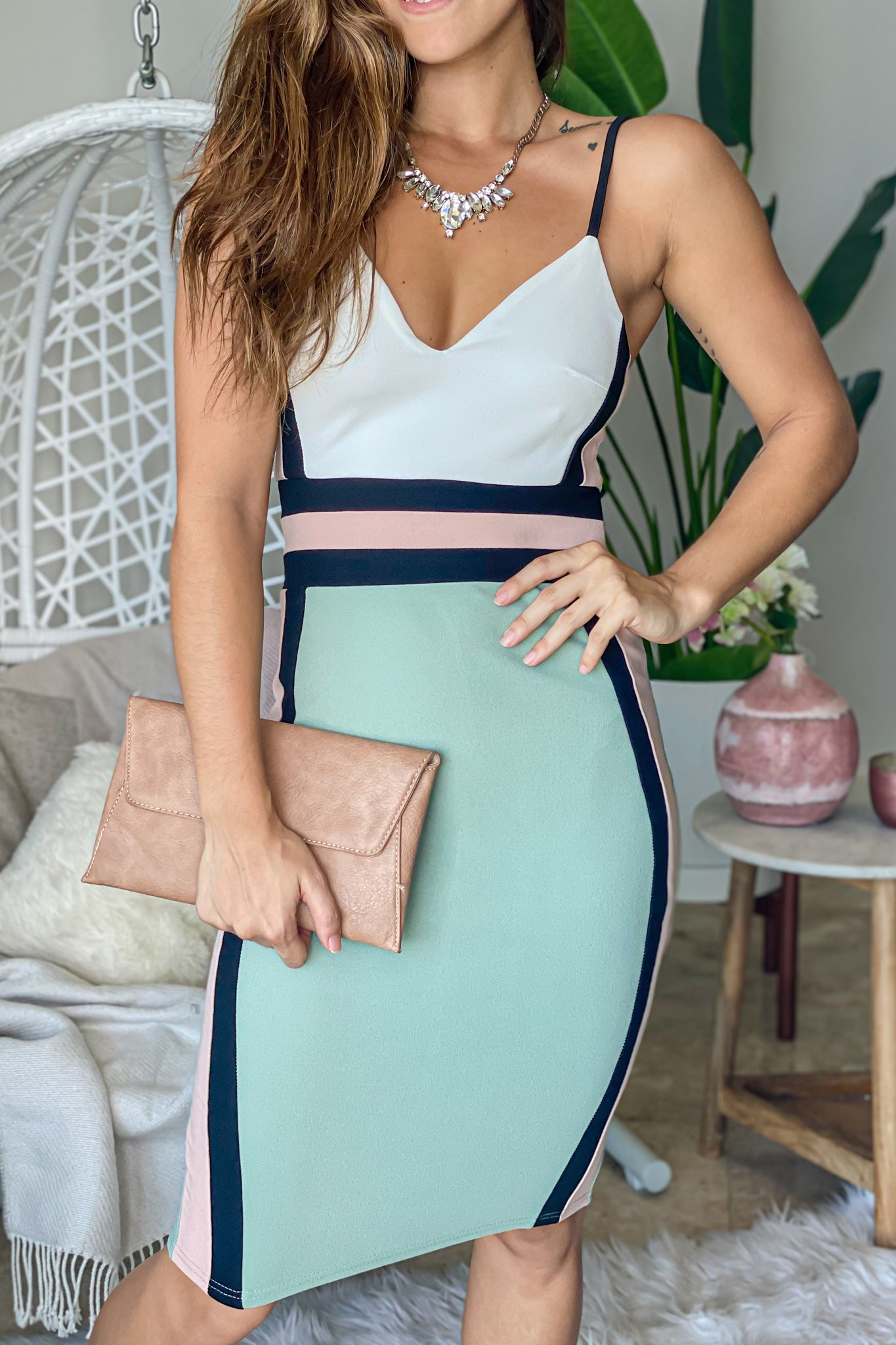 Lifestyle mint color block midi dress