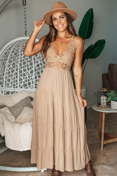 Mocha Floral Crochet Top Maxi Dress