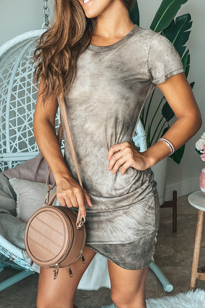 Mocha Tie Dye Short Dress With Sleeves