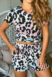 Lifestyle multi colored leopard top and shorts set