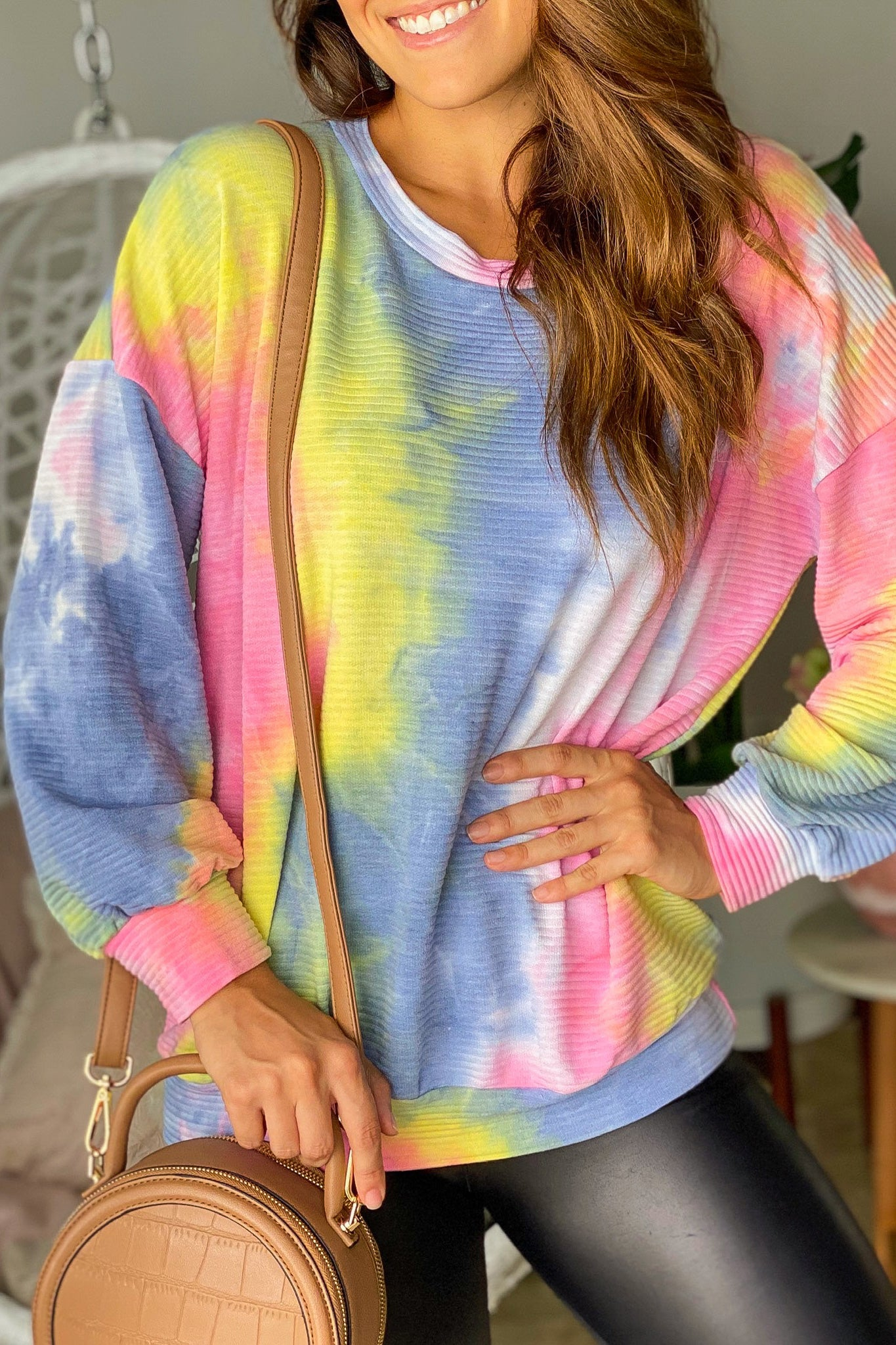 Lifestyle multi colored ribbed tie dye top