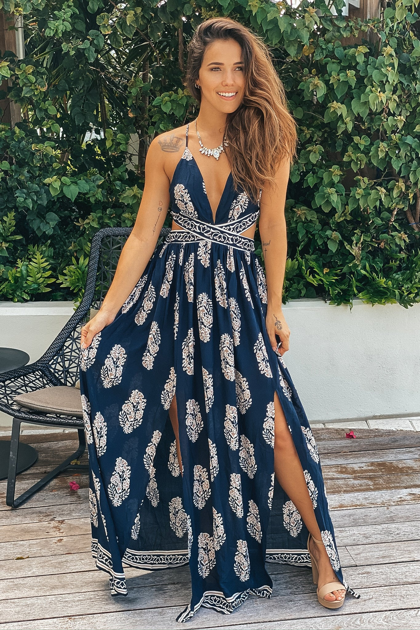 Lifestyle navy printed cut out maxi dress