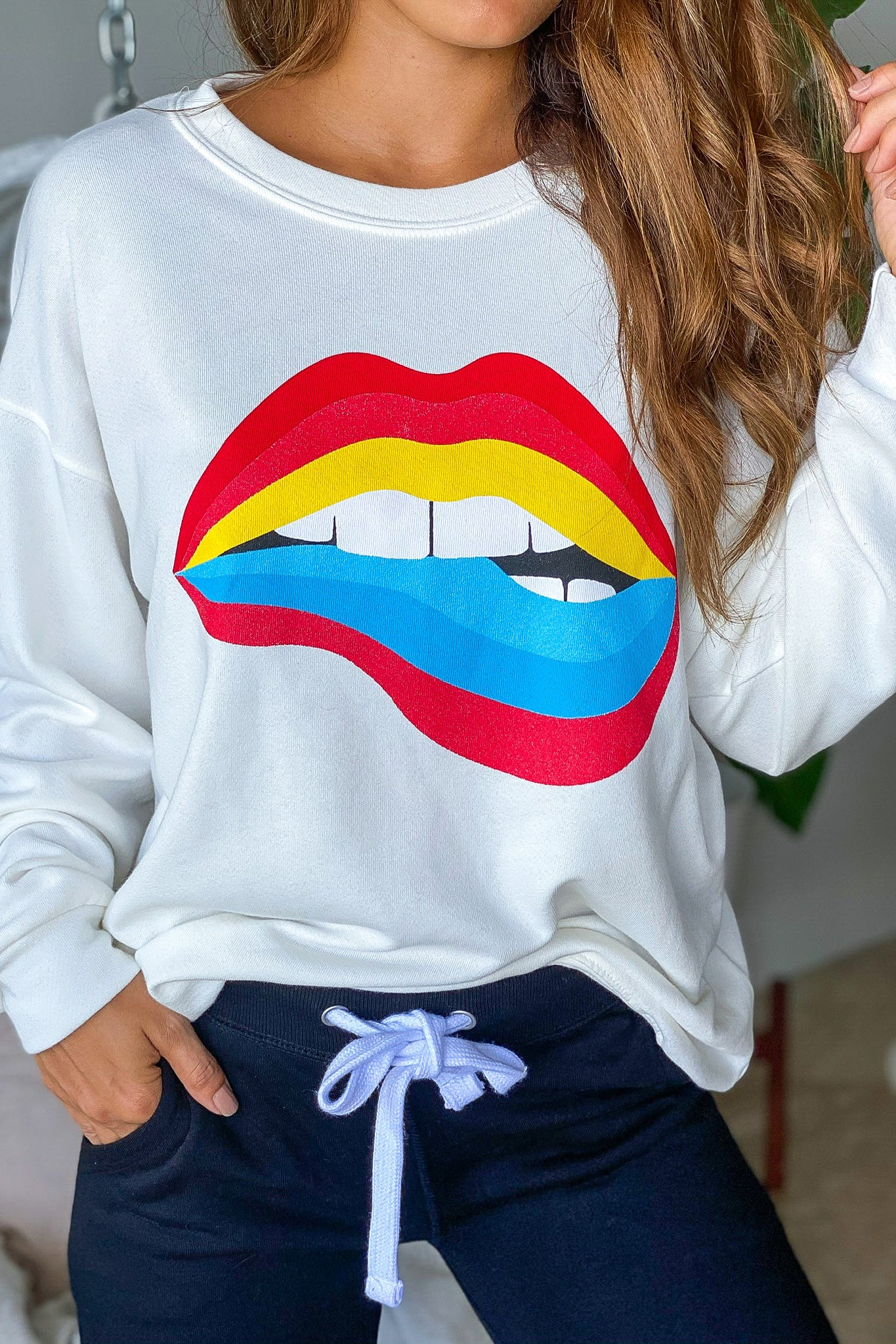 Lifestyle off white rainbow lip sweater