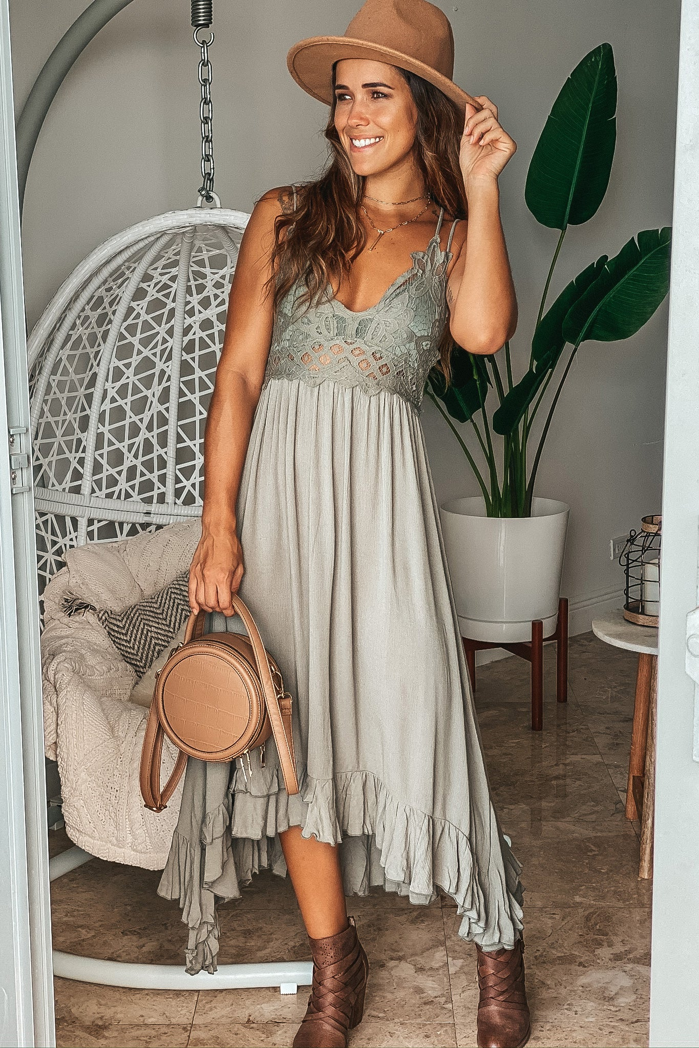Lifestyle olive crochet top high low dress