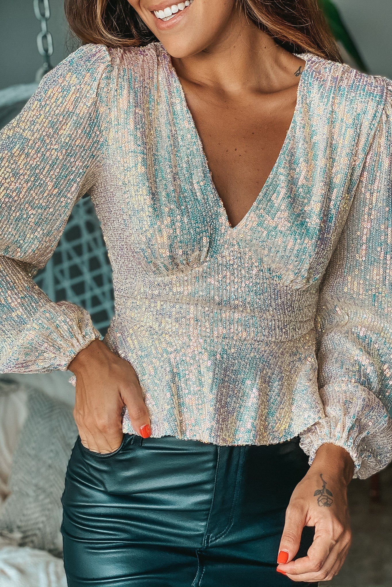 Lifestyle opal sequin top with long sleeves