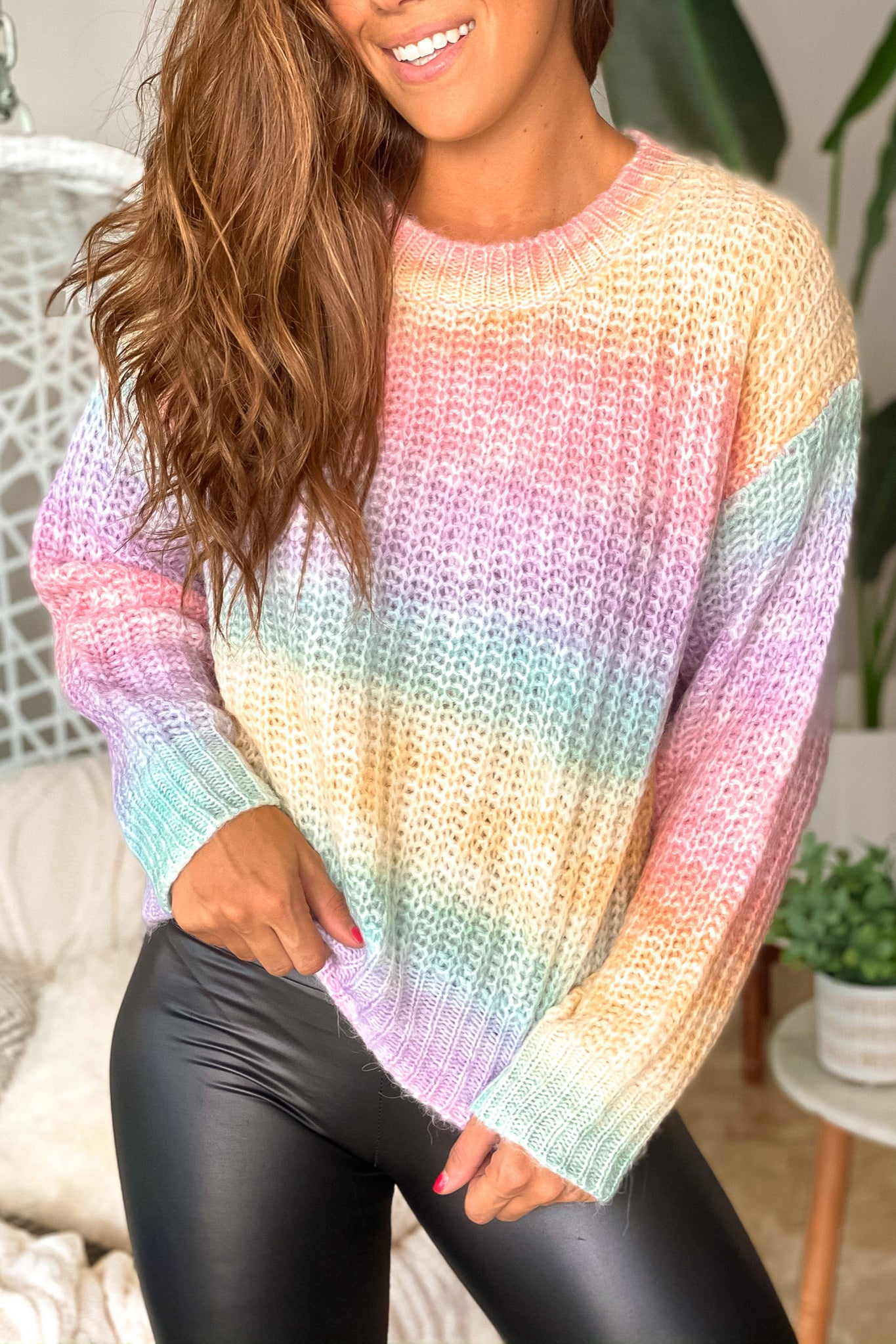 Lifestyle pastel ombre knit sweater
