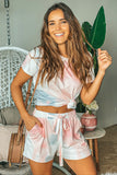 Lifestyle pink and gray tie dye-top and shorts set