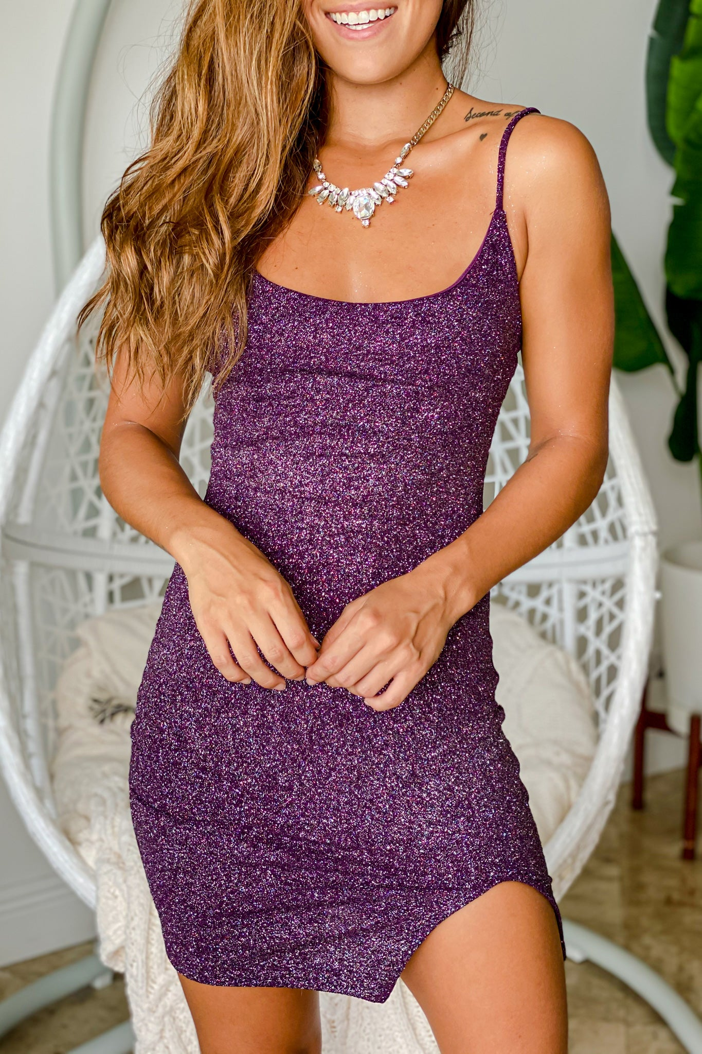 Lifestyle plum glitter short dress with slit
