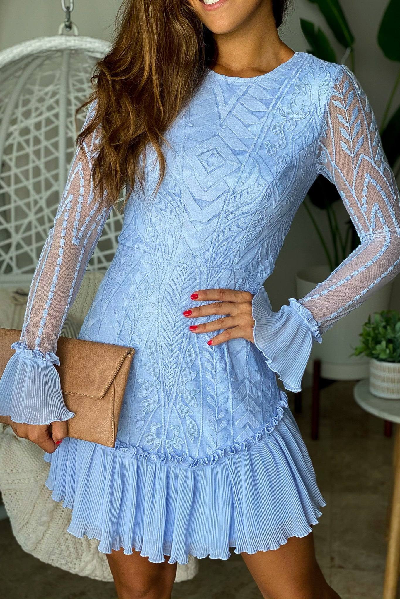 Lifestyle steel blue long sleeve lace short dress