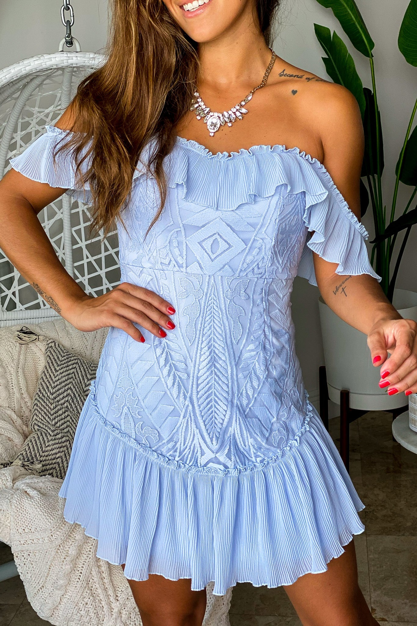 Lifestyle steel blue off shoulder short dress