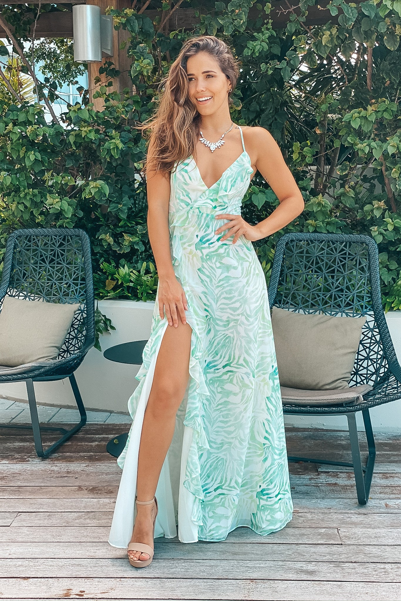Lifestyle white and green printed maxi dress