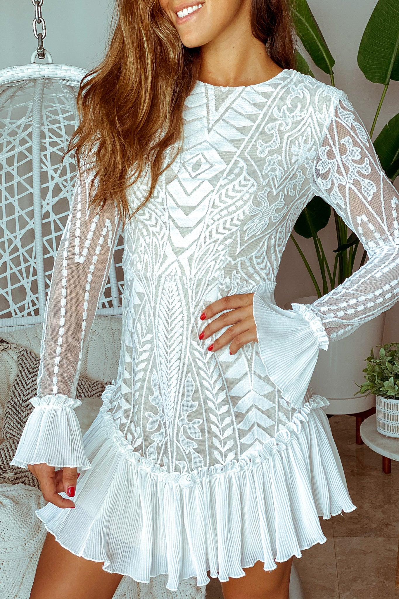 Lifestyle white long sleeve lace short dress