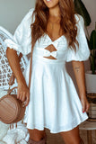 Lifestyle white short dress with bow details
