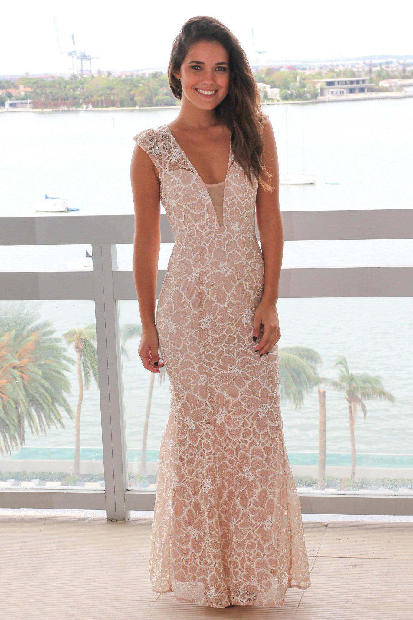 Blush and Ivory Lace Maxi Dress with Mesh V-Neck | Formal Dresses ...