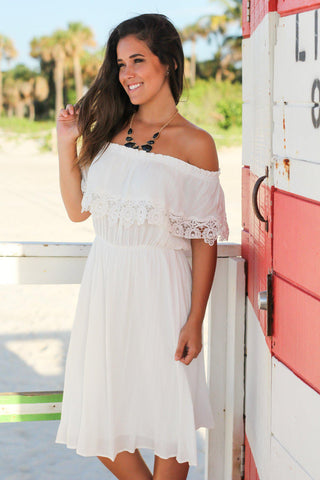 White Off Shoulder Short Dress with Lace