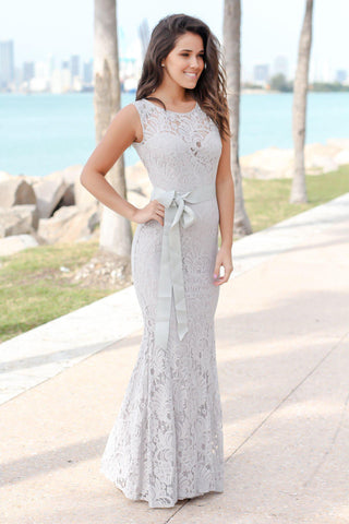 Gray Lace Maxi Dress with Open Back and Ribbon