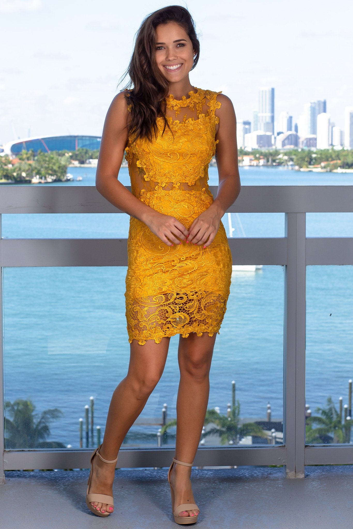 Mustard Lace Short Dress