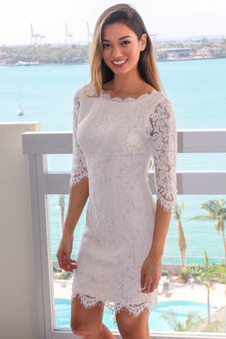 Ivory Lace Short Dress with 3/4 Sleeves