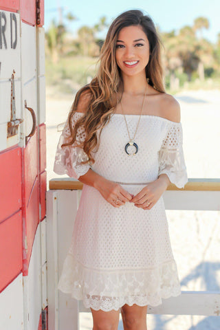 Natural Off Shoulder Short Dress with Lace Detail