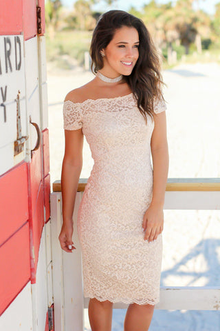 Nude Lace Off Shoulder Short Dress