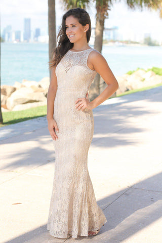 Gray and Gold Lace Maxi Dress with Open Back