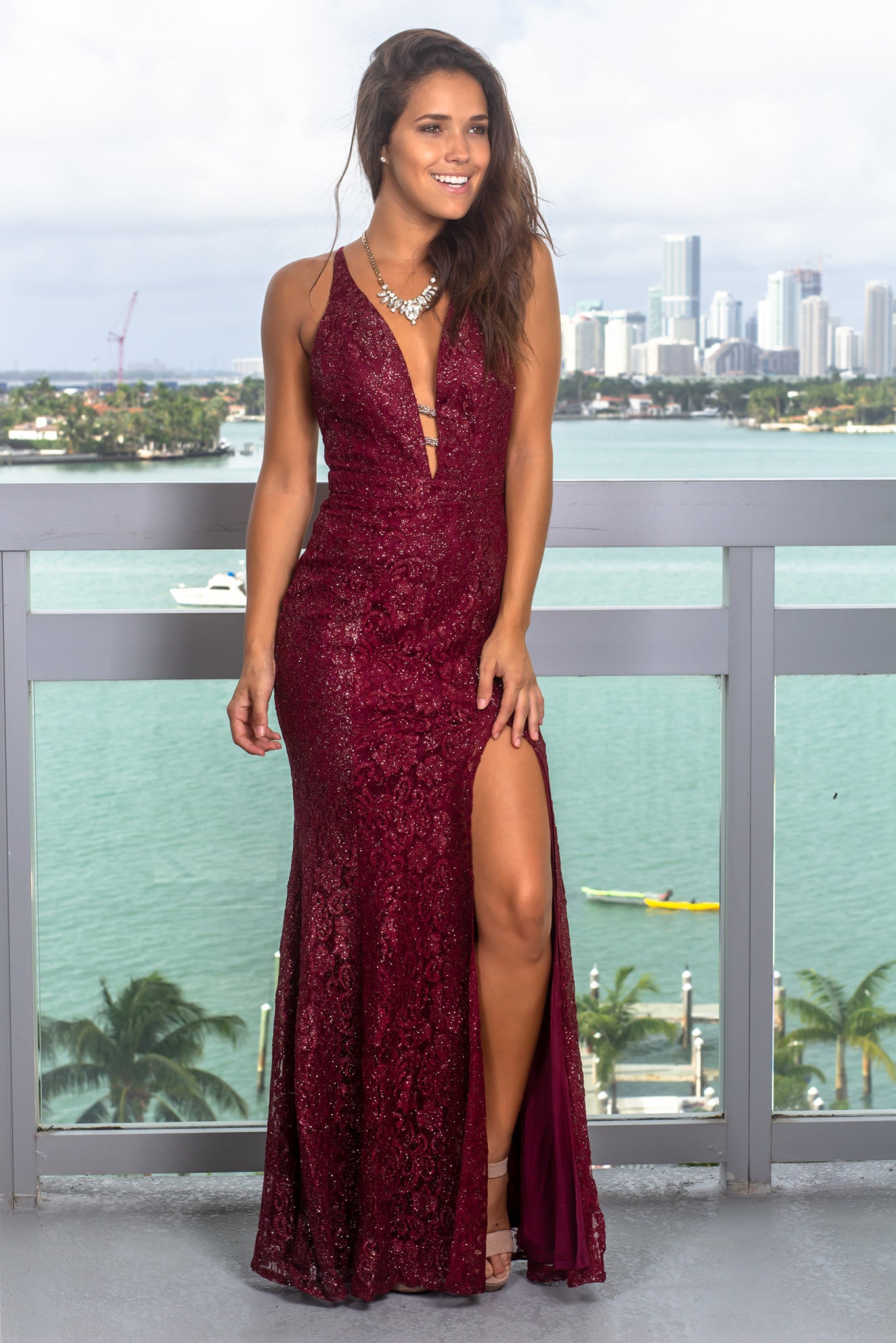classic styles full range of specifications better price for Burgundy Lace Maxi Dress with Shimmer Detail