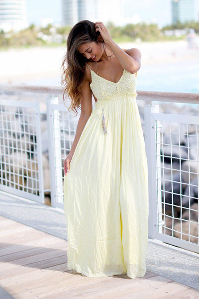 3a1d8f81cc01d Yellow Lace Maxi Dress with Open Back and Frayed Hem