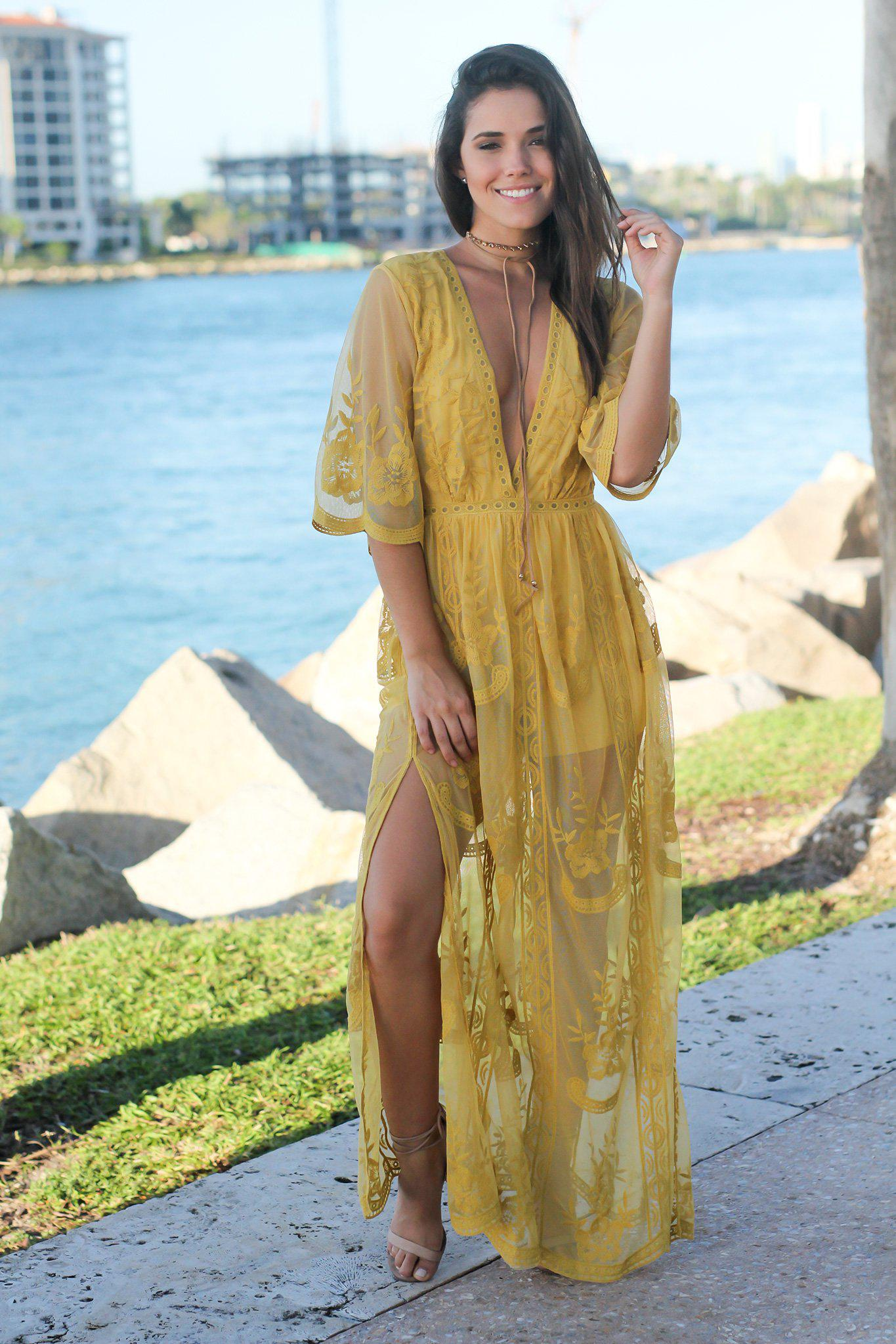 bcd5d9bbd289 Lace Romper  Rompers  Online Boutiques  Mustard Lace Maxi Romper  Womens  Boutiques