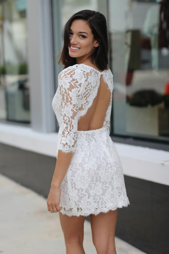 Off-White Lace Short Dress with Pockets | Lace Dress ...