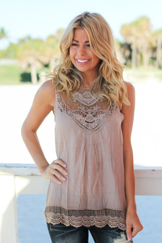 Mocha Lace Top with Crochet Trim