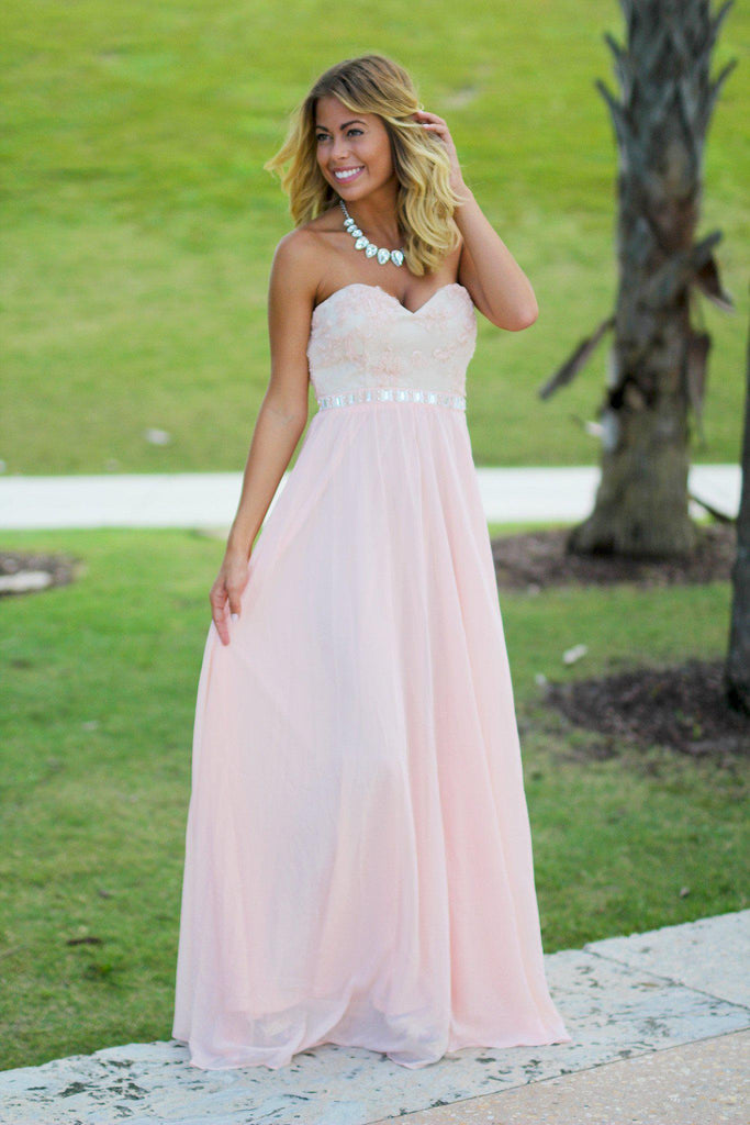 Pink and Beige Lace Top Maxi Dress