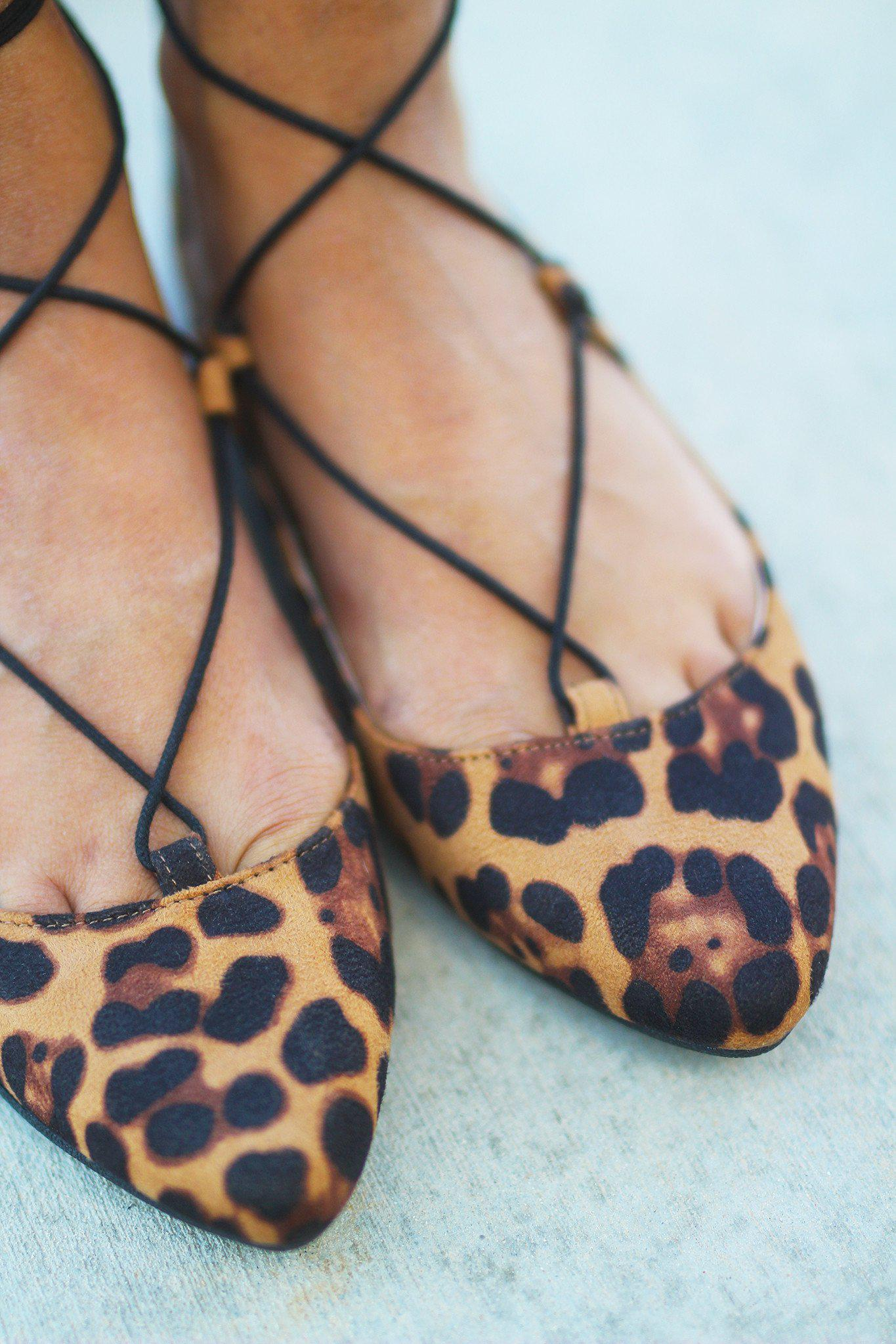 Leopard Lace Up Ballet Flats