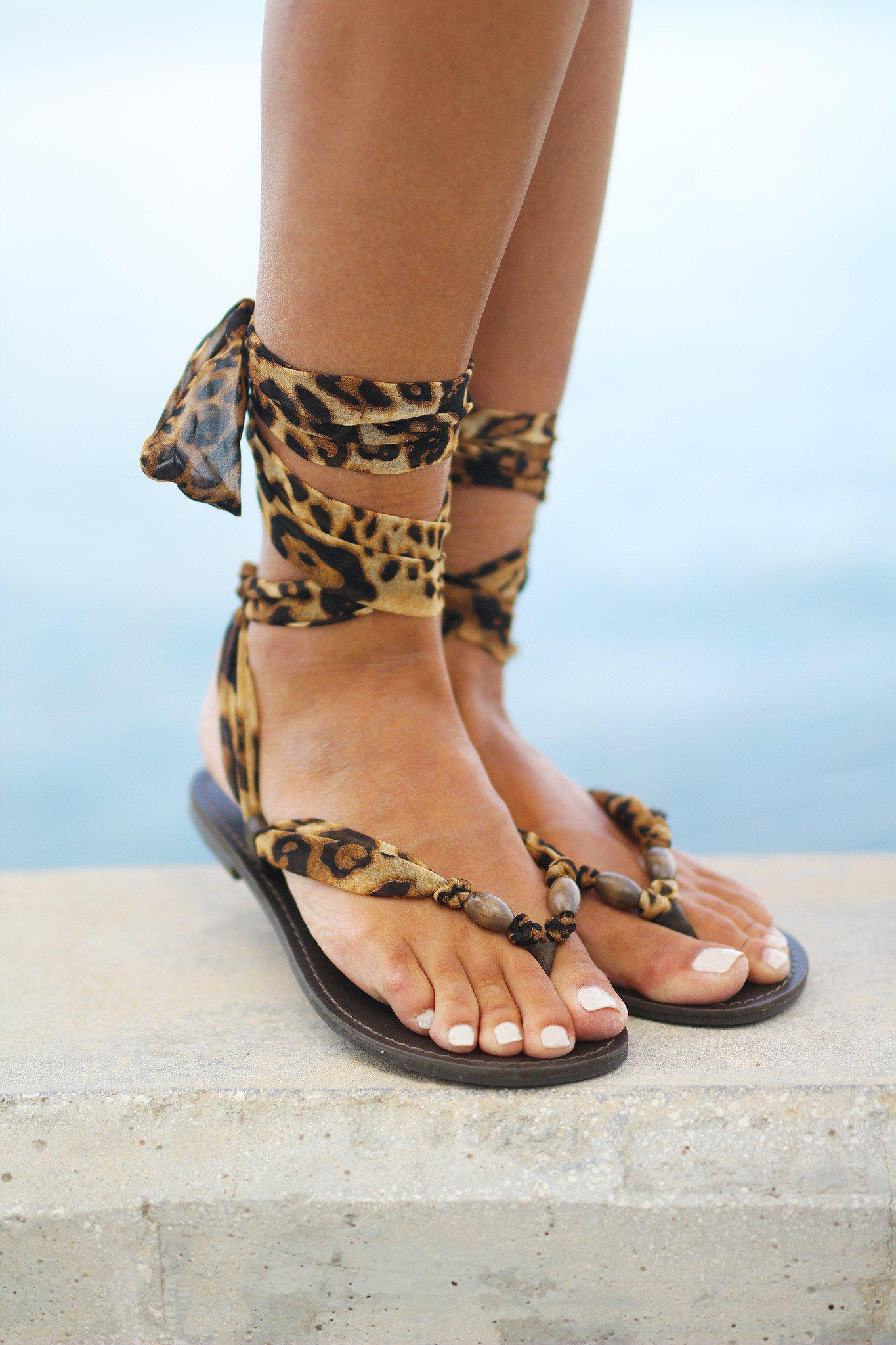 Leopard Lace Up Sandals