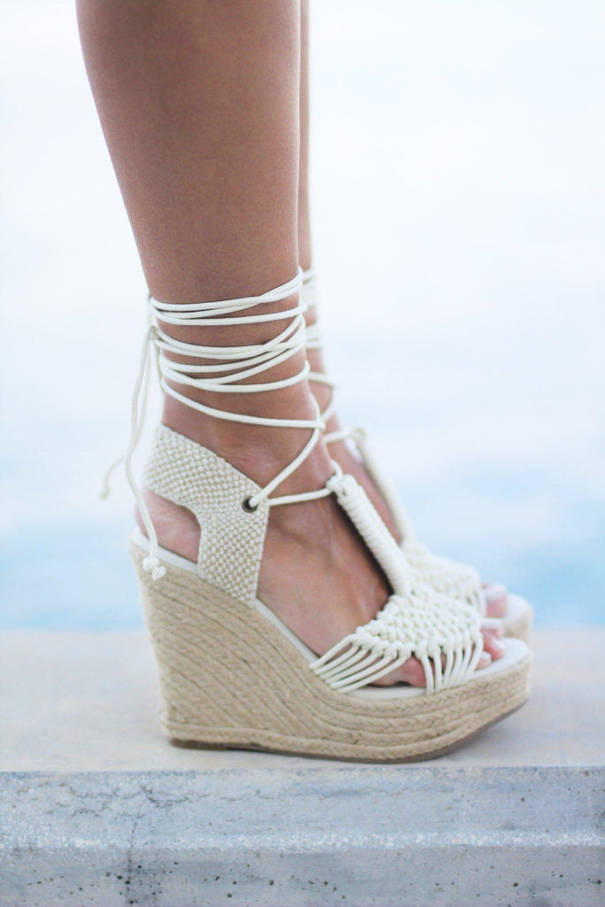 off white high heel wedges