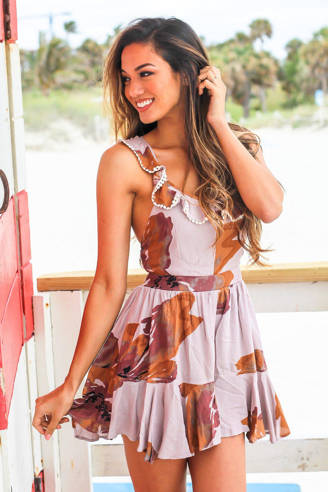 Latte Floral Romper with Criss Cross Back